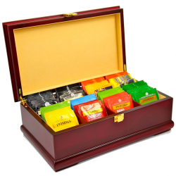 Indian Tea Company ITC Luxury Wooden Mahogany Finish Tea Chest, Cream Velvet inside, 8 Compartment with 80 Twinings tea bags