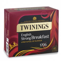 Twinings English Strong Breakfast 1706 – Box of 80 Tea Bags, 2 Boxes, Not Enveloped