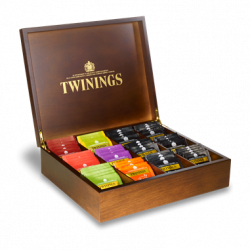 Twinings Dark Wooden 12 Compartment Large Wooden Tea Chest Caddy with 100 Twinings Individually Wrapped Tea Bags