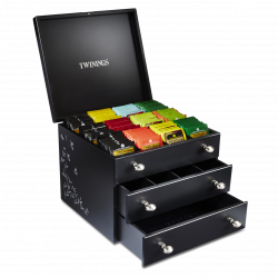 Twinings Large Black Wooden Tea Chest Box, 3 Drawer, 16 Compartment, comes with 120 Twinings tea bags. Caddy
