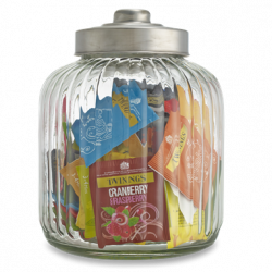 Twinings Large Designer Ribbed Glass Jar Filled with 90 Twinings tea bags, Caddy