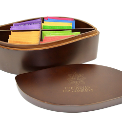Indianteacompany ITC Large Designer Leaf Shaped Tea Chest Box 4 Compartment, Dark Wood finish, comes with 32 Twinings teas. Caddy