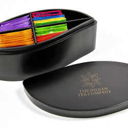 Indianteacompany ITC Large Designer Leaf Shaped Tea Chest Box 4 Compartment, Black Wood finish, comes with 32 Twinings teas. Caddy