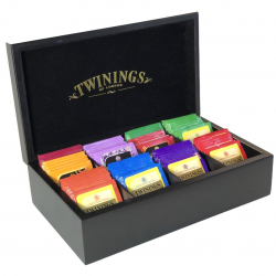 Twinings Black Wooden Tea Chest Box NEW DESIGN, 8 Compartment, Black Velvet inside, comes with 80 Twinings tea bags. Caddy