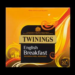 Twinings English Breakfast Tea 50 enveloped tea bags per box, 4 boxes