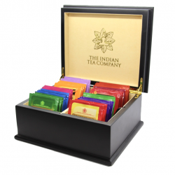 Indian Tea Company ITC 4 Compartment Black Wooden Tea Chest, Cream Velvet with 40 Twinings Tea Bags
