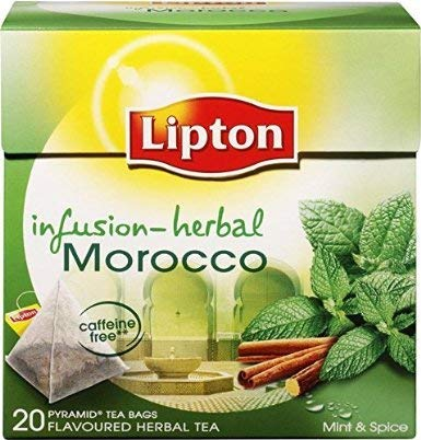 Lipton Moroccan Mint Tea 4 boxes, 20 pyramid tea bags per box(Mint and Spices)