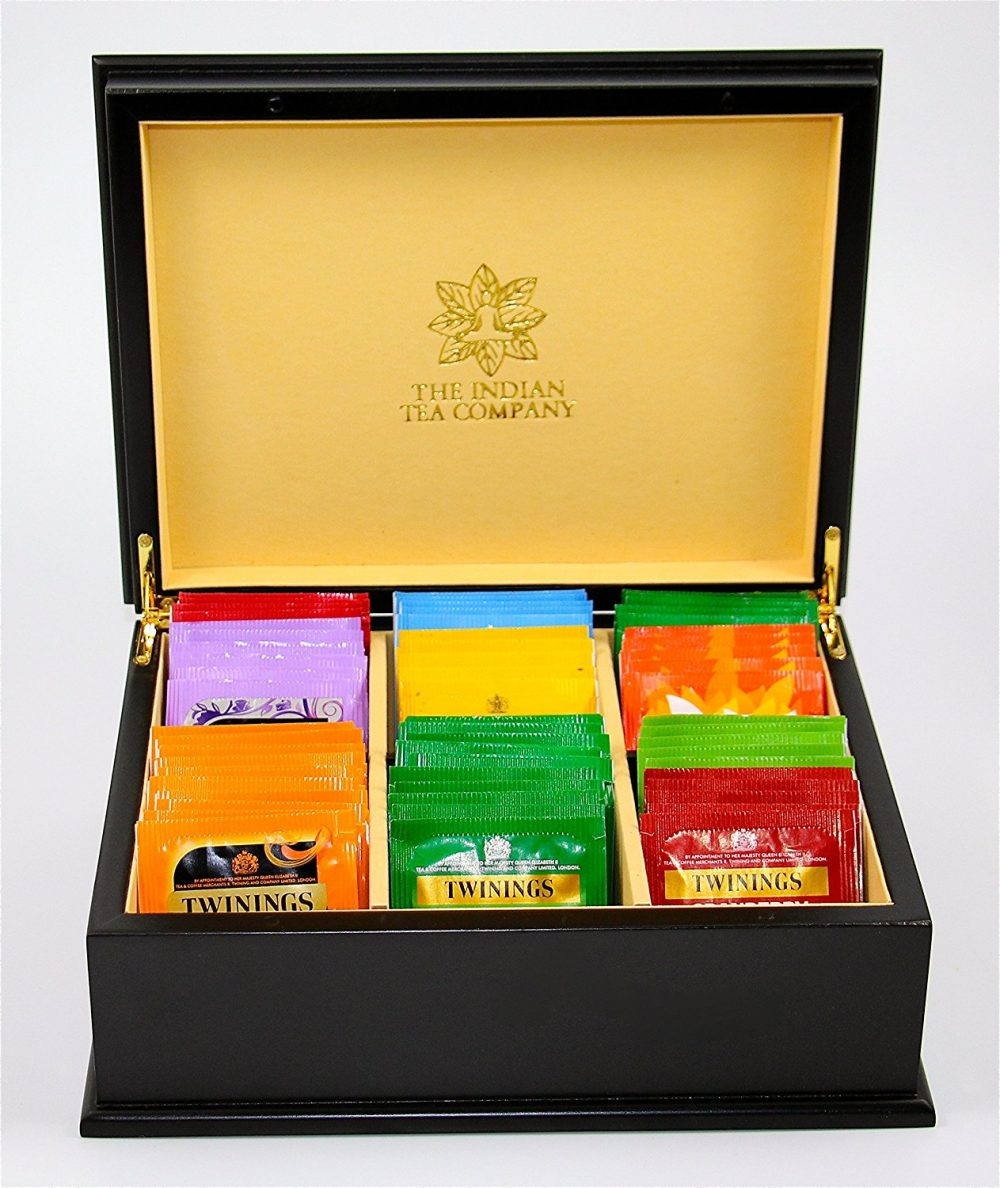 Indian Tea Company ITC 6 Compartment Black Wooden Tea Chest, Cream Velvet with 60 Twinings Tea Bags