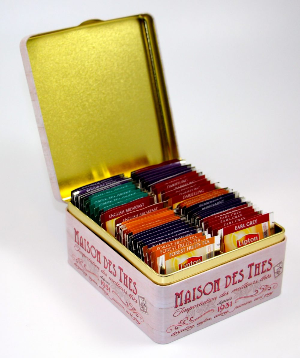 House of Teas Presentation Tin, 4 compartment with 60 Lipton Tea Bags