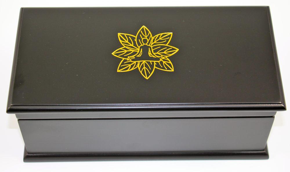 Indian Tea Company ITC 6 Compartment Black Wooden Tea Chest, Cream Velvet with 60 Lipton Tea Bags