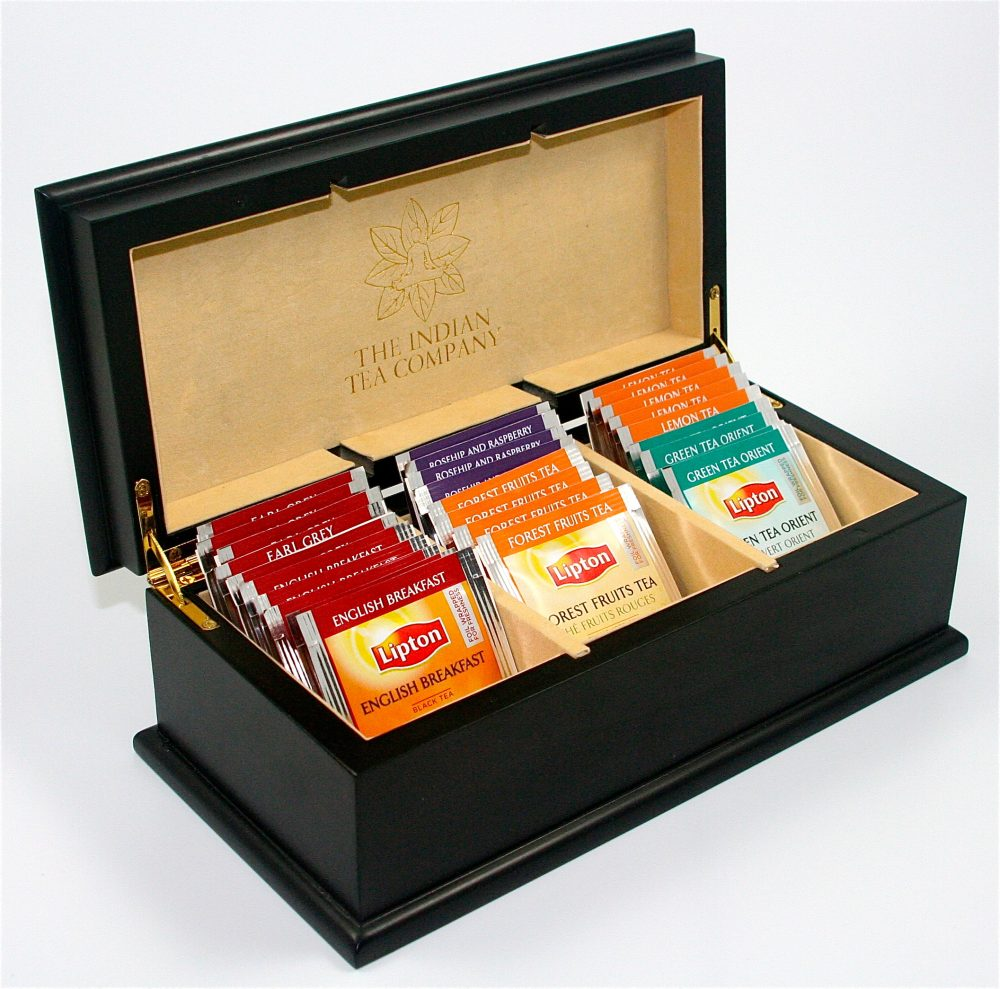 Indian Tea Company ITC 3 Compartment Black Wooden Tea Chest with 30 Lipton Tea Bags