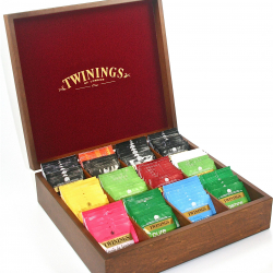 Twinings Oak Wooden Tea Chest Box, 12 Compartment, Red Velvet inside, comes with 100 Twinings teas. Caddy