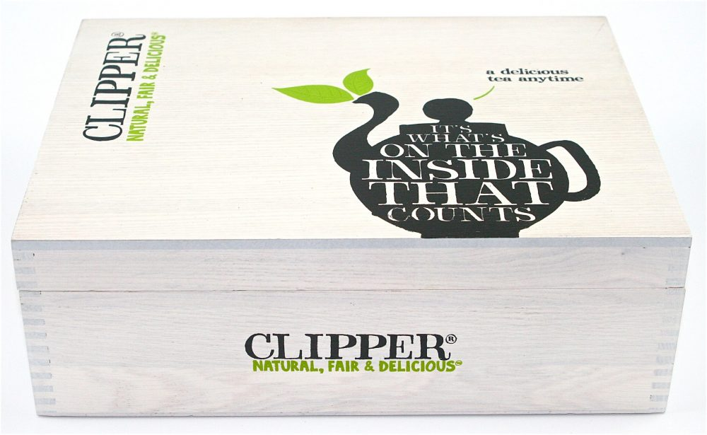 Clipper Large Wooden Tea Chest Box, 12 Compartment, comes with 80 Clipper tea bags. Caddy