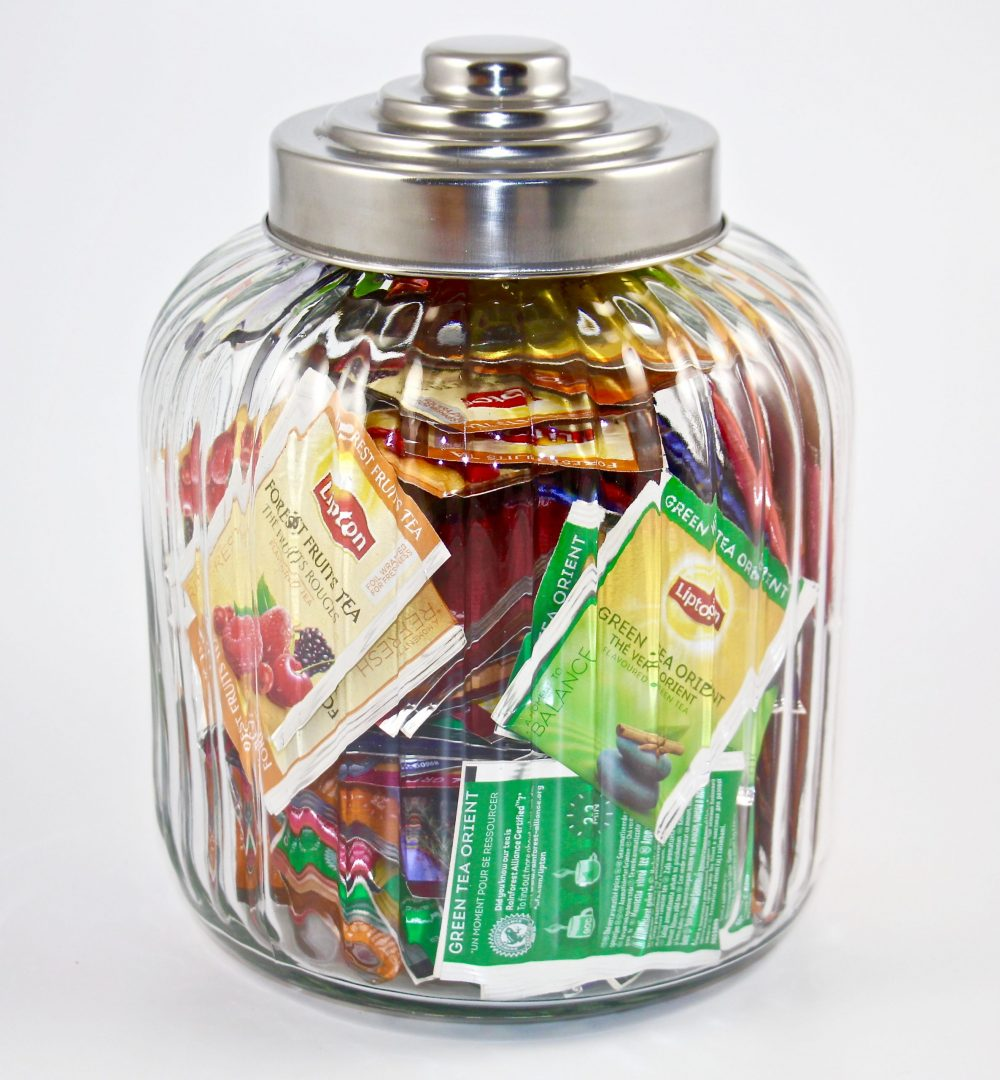Lipton Large Designer Ribbed Glass Jar Filled with 120 Lipton tea bags, Caddy