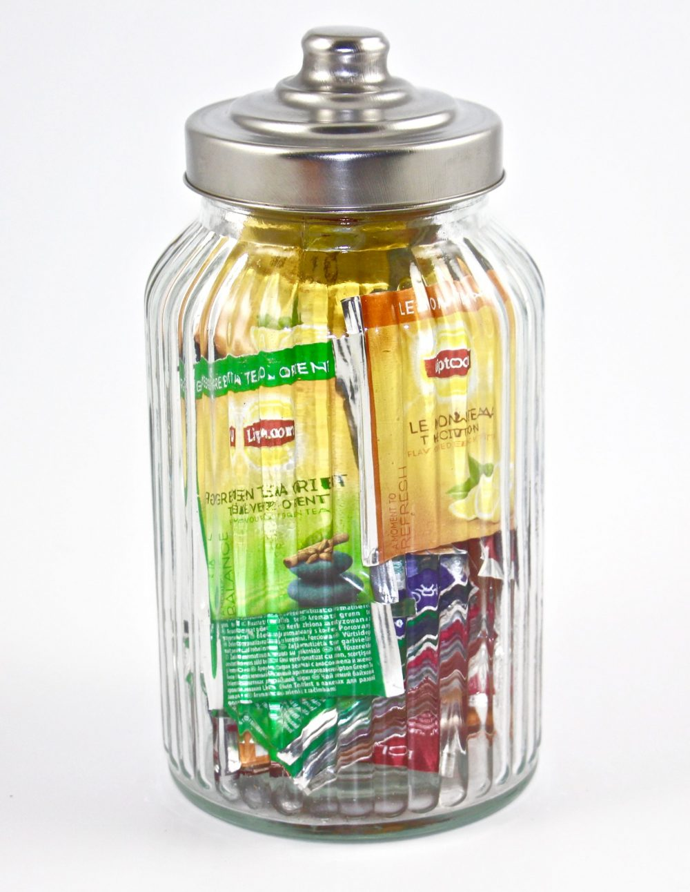 Lipton Medium Designer Ribbed Glass Jar Filled with 45 Lipton tea bags, Caddy