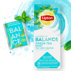 Lipton Green Tea with Mint 6 Boxes, each box has 25 envelope tea bags