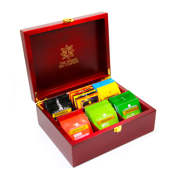 Indianteacompany ITC Mahogany Finish 6 Compartment Wooden Tea Chest with 60 Twinings Tea Bags