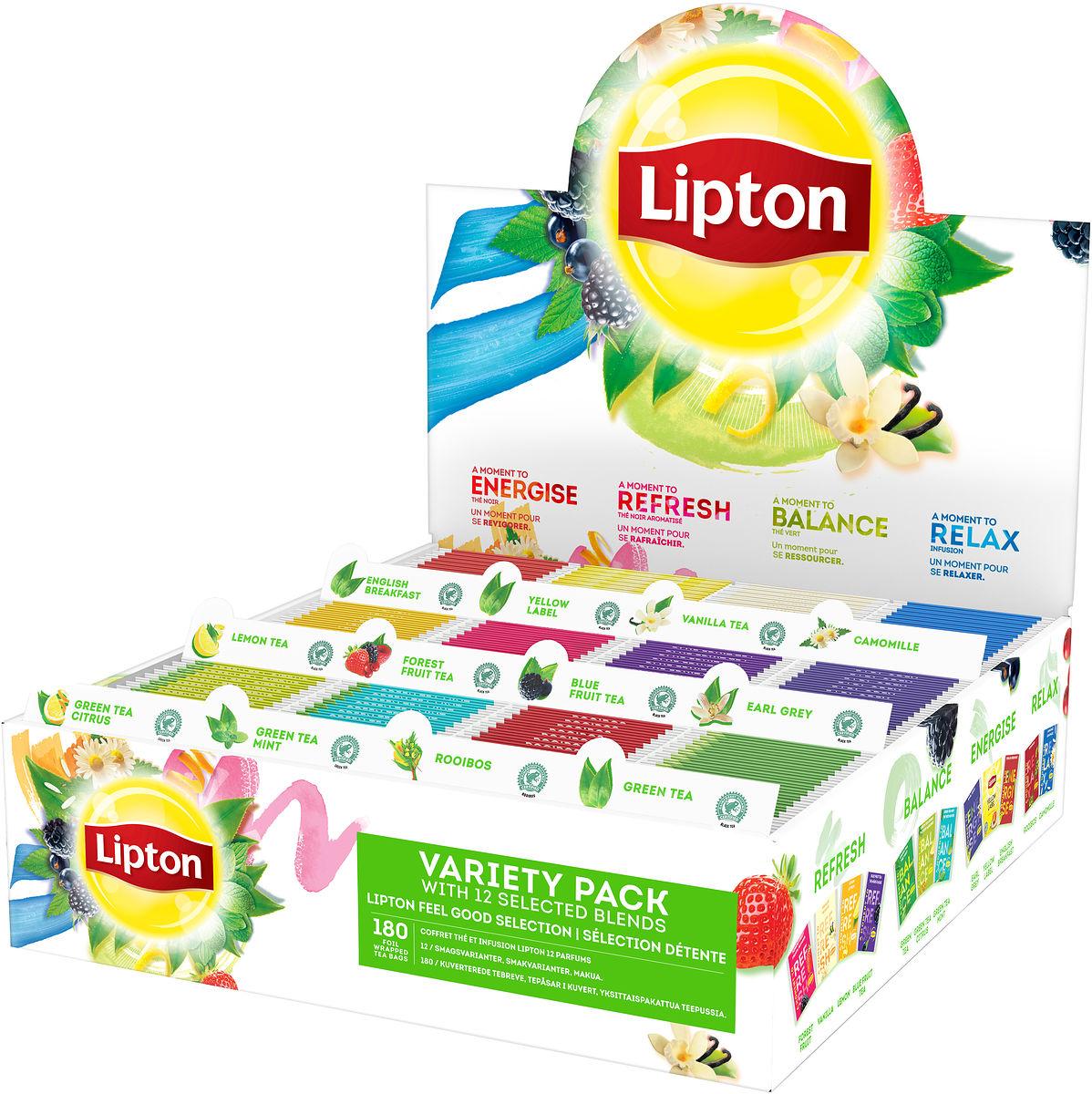 Lipton Medium Designer Ribbed Glass Jar Filled with 45 Lipton tea bags, Caddy