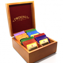 Twinings Tea Chest Box 4 Compartment, Oak Wood Finish, Red Velvet inside, comes with 40 Twinings tea bags. Caddy