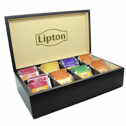 Lipton 8 Compartment Black Wooden Tea Chest, Cream Velvet with 80 Lipton Tea Bags