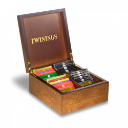 Twinings Tea Chest Box 4 Compartment, Dark Wood Finish, comes with 40 Twinings tea bags. Caddy