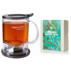 Ingenuitea 2 Loose Tea Teapot with infuser(450g) with Green Tea Sample Set of 4 Flavours