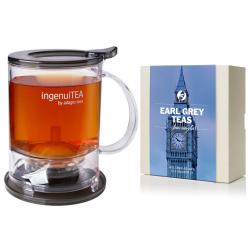 Ingenuitea 2 Loose Tea Teapot with infuser(450g) with Earl Grey Loose Tea Sample Set of 4 Flavours